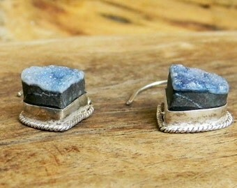 Vintage Cobalt Druzy Earrings in Sterling Silver