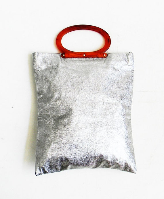 Antique Metallic and Lucite Tote and Clutch Convertible