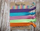 FOE Elastic Hair Ties RAINBOW BRIGHTS Chevron Collection Toddlers Girls Women -Set of 6-