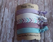 FOE Elastic Hair Ties Southwest Inspired Collection Aqua Purple White Toddlers Girls Women -Set of 5-