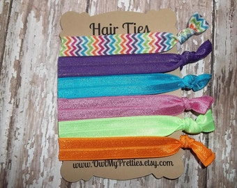 FOE Elastic Hair Ties RAINBOW BRIGHTS Chevron Collection Toddlers Girls Women -Set of 6-