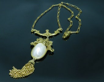 Vintage Goldette Ornately Designed Victorian Style Necklace With Large Pearlized Cabochon And Tassle