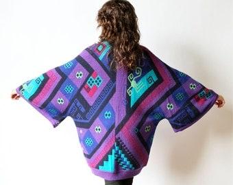 80s Geometric Cardigan Avant Garde Knit Kimono Sweater Southwest New Wave Bright Color purple teal pink Italy Wool batwing boho hippie coat