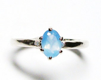 "Blue chalcedony ring, solitaire ring, blue, blue jewelry, teen jewelry,  s 5 ""Powder Puff"""