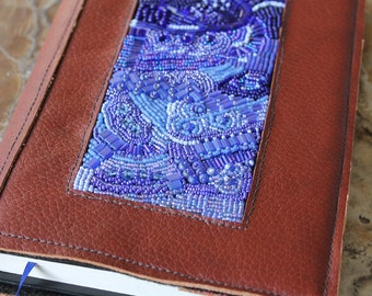 leather journal sketchbook with bead embroidery - shades of blue - Memphis Blues