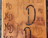 Antique German Copper Stencil Initials Mo Mt Mu Decorative Embroidery 1920,s Kupfer Schablone