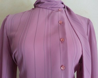 SALE ! 70s Secretary Chic - Violet Strip Button Blouse - Teddi of California