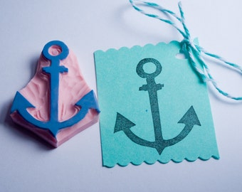 Anchor Stamp, Boat Anchor Rubber Stamp, Hand Carved Ship Anchor Stamp