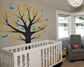 Owls Tree and Butterflies - Nursery Wall Decal Sticker