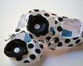 Black & White Polka Dot Maryjane Baby Shoes - Soft Ballerina Slippers Baby Booties