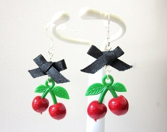 Cherry Earrings Black Bow Cherries