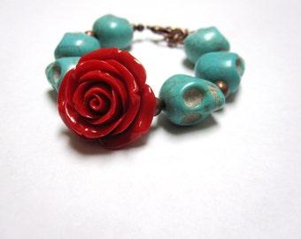 Sugar Skull Bracelet Day Of The Dead Red Rose Turquoise Blue Strand