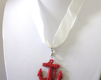 Anchor Necklace Nautical Red White Ribbon