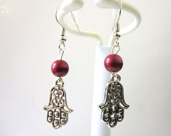 Red Silver Healing Hamsa Hand Earrings