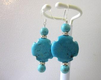 Turquoise Blue Cross Earrings Western