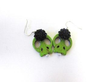 Sugar Skull Earrings Day of the Dead Green Black