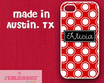 Custom Phone Case iPhone 6 5/5S 4/4S Samsung Galaxy S4 S5 - Red Dots Circles Black Name Band - Monogrammed Personalized