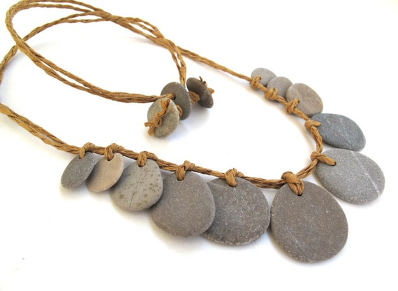 River Rock Jewelry Beach Pebble Necklace : BLESSED