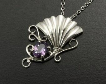 Art Nouveau style silver pendant necklace, flower, arabesque, purple spinel