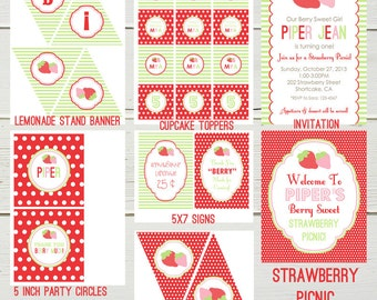 Strawberry Picnic Party Printables Shop Collection