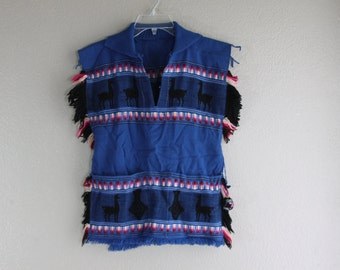 handmade vtg LLAMA & fringe poncho- sweater wrap- tribal native pattern- OOAK