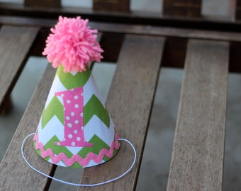First Birthday Hat Green Chevron Pink Polka Dots 1st Birthday Outfit Toddler Baby Girl