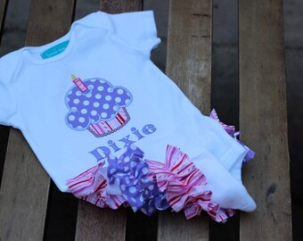Cupcake First Birthday Bodysuit Pink Purple Ruffle Bum Stripe Polka Dots Personalized Baby Girl 1st Birthday Party