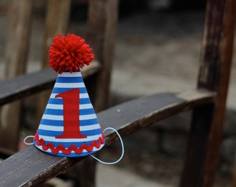 First Birthday Hat Red White Blue Stripe 1st Birthday Outfit Toddler Baby Boy or Girl