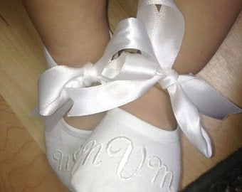 Baby Wedding Shoes- Baby Baptism Shoes- Monogrammed White Booties- Baby Shoe Christening- Newborn Baby Gift- Keepsake Baby Gift- Baby Gift