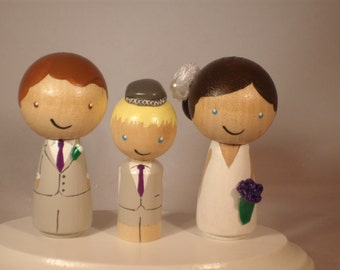 Custom Kokeshi Wedding Cake Toppers with Kokeshi Child, Family of Three Kokeshi Wedding Set