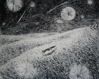 Thistledown, etching by Flora McLachlan, night, shooting stars, seeds, running fox, hills, small black and white hand pulled