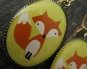 Yellow fox earrings