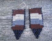 Handmade Micro Macrame Earrings in Brown, Blue, Grey & Cream with Sterling Silver Hooks