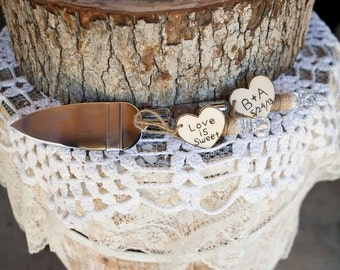 Country Rustic Chic Wedding Cake Server And Knife Set