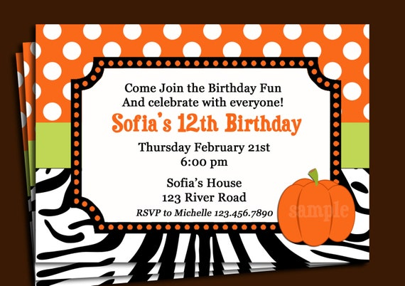 Orange dot zebra invitation printable or printed with free shipping il570xn stopboris Image collections
