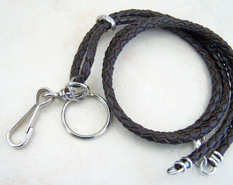 Best Seller, Unisex Leather ID Lanyard, 26-36 Inch, Black or Brown, 4mm Bolo Cord, Id Holder, Key Chain Lanyard,