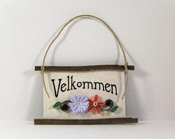Paper Quilled Magnet 316 - Velkommen - Danish Welcome, Danish Mini Sign, Quilled Ornament, 3D Paper Quilling, Kitchen Decor, Denmark Gift