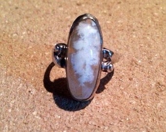 Plume Agate Sterling Silver Ring