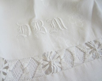 Stunning Monogrammed Towel in Fleur de Lis Damask and Drawn Thread Lace