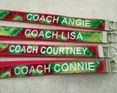 Personalized Lanyard Key Fob Coach Whistle Lanyard Team Club Sorority Fraternity Badge Holder