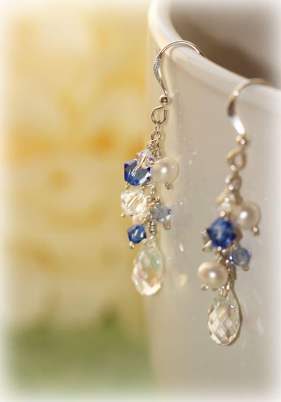 Timeless Blue Swarovski and Freshwater Pearls Earrings