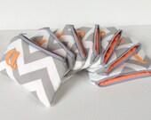 Seven Peach & Grey Personalized Bridal Flat Cosmetic Gift Bags, Light Orange Orange Custom Bridesmaids Wedding Favor, Monogram Card Case