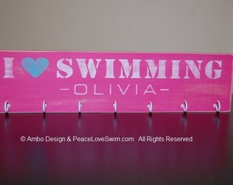 I Love Swimming Ribbon Holder Display with FREE Personalization!