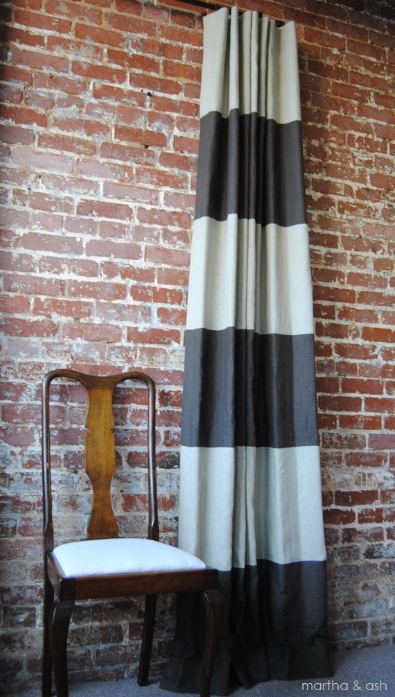 """108""""L Striped Drapery Panel - Custom Curtains - 28 color options"""
