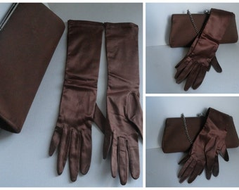 Vintage 1960's Brown Silk Opera Gloves Evening Bag set /Brown Silk Clutch/Formal Evening Purse with Gloves