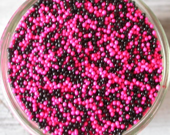 Sprinkles, 6 oz. - Pink and Black Non Pareils Mix - For Cupcakes - Cookies - Ice Cream - Cake Pops - Dipped Pretzels - Cakes - Desserts