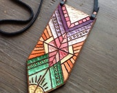 Geometric Spectrum Painted Necklace