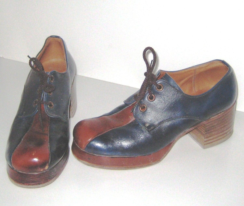 1970s mens platform shoes vintage 70s disco shoes two tone