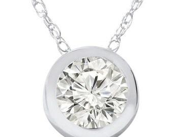 Diamond .55CT Bezel Solitaire Pendant 14K White Gold Round Brilliant Cut