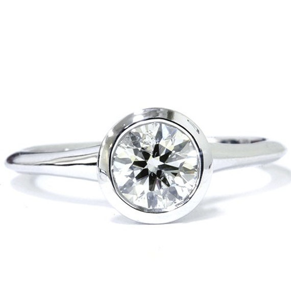 Diamond Engagement Ring, Round Solitaire 1.00CT Solitaire Bezel Diamond Engagement Ring G/SI 14 Karat White Gold